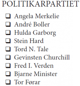 Politikarpartiet, liste, utan hovud